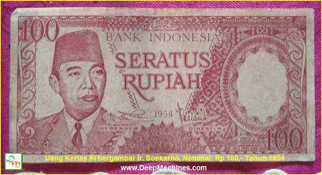 Gambar dan Keterangan Uang Kertas Soekarno Rp 100,- Th 1954
