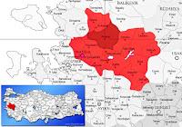 Akhisar ilçesinin nerede olduğunu gösteren harita