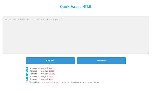 quick escape parse html ads converter blogger