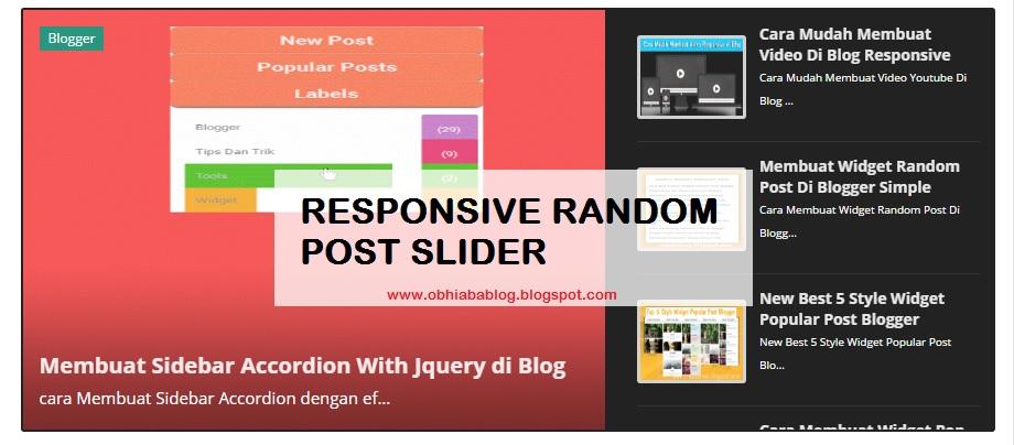 Blogger Responsive Random Post Slider