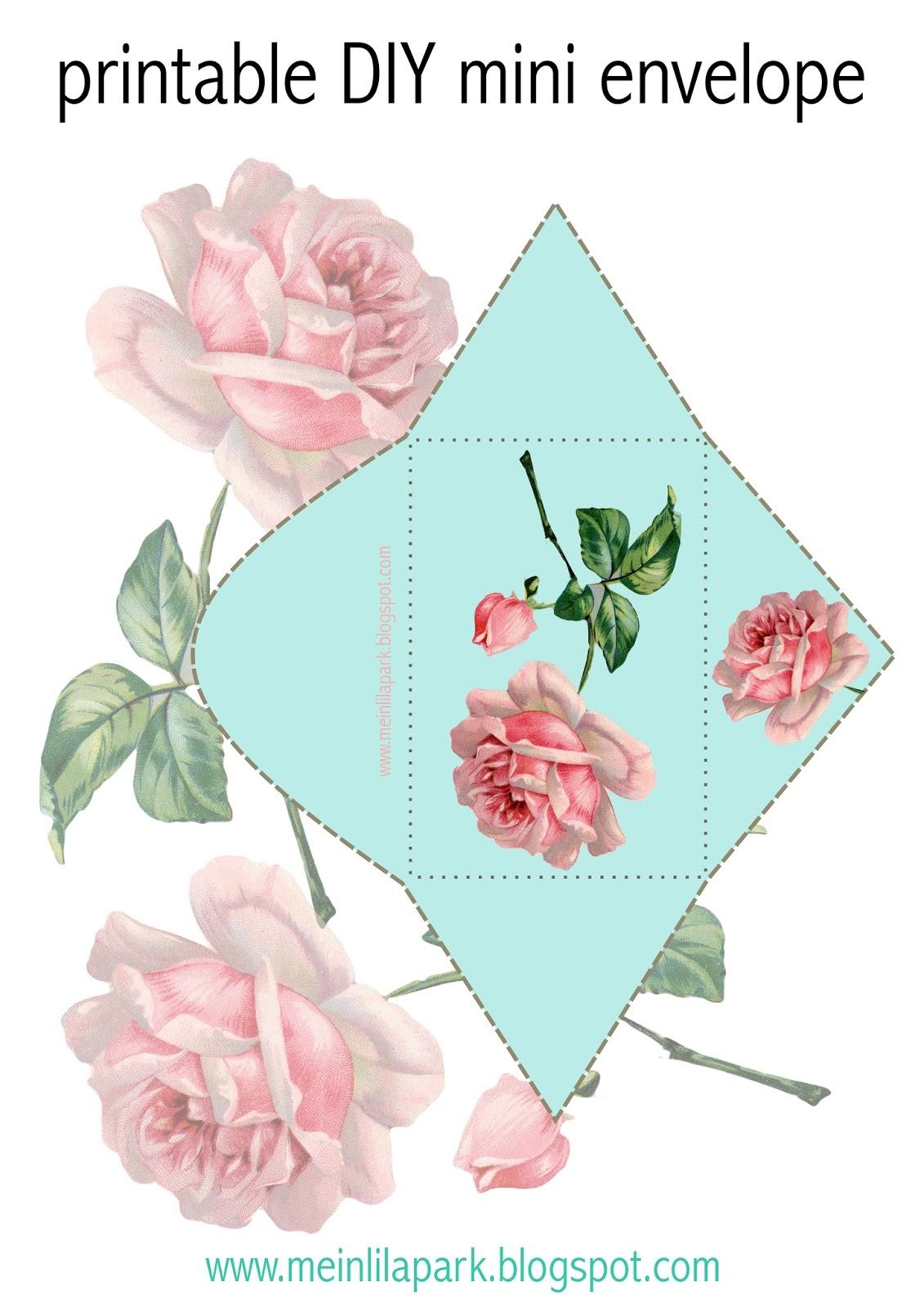 Free printable vintage rose envelope - ausdruckbarer ...