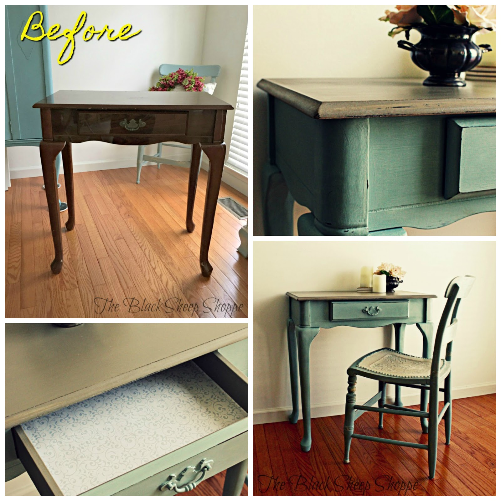 An old make up vanity was transformed with paint.