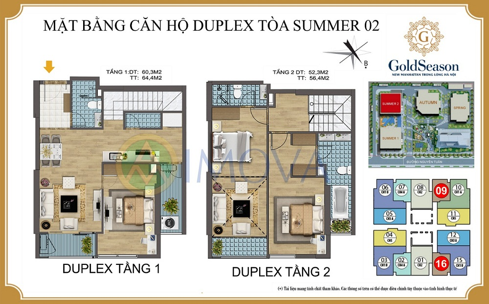 Mặt bằng căn hộ Duplex tòa Summer 2 căn số 09 và 16