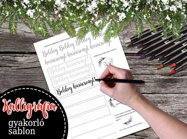 Kalligráfia gyakorló sablon - Boldog karácsonyt!