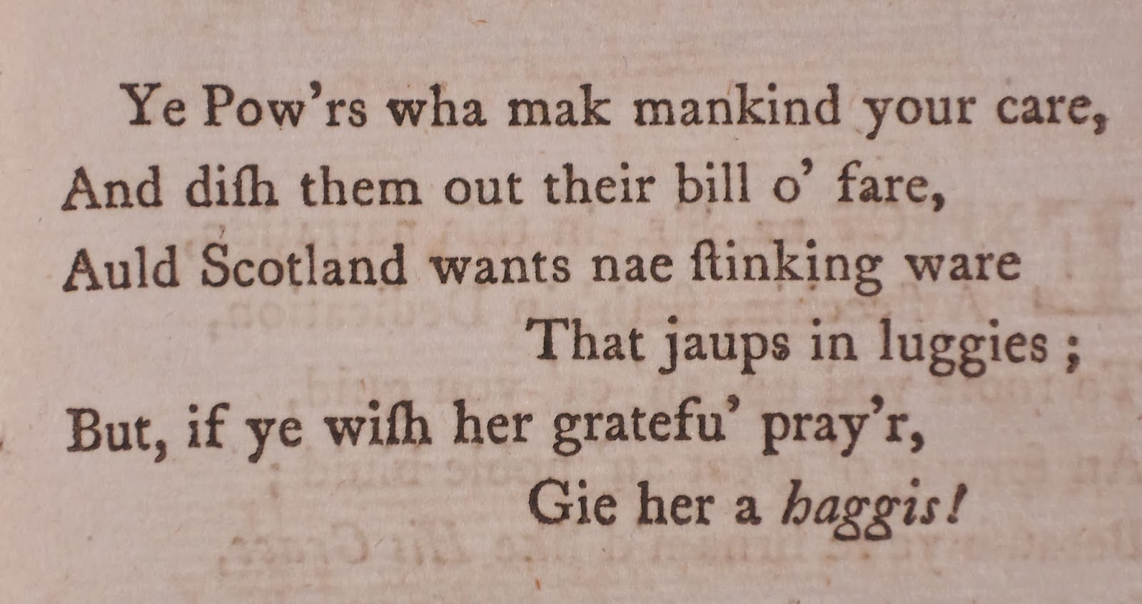 A printed verse on haggis.