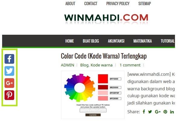 tombol share melayang disamping blog