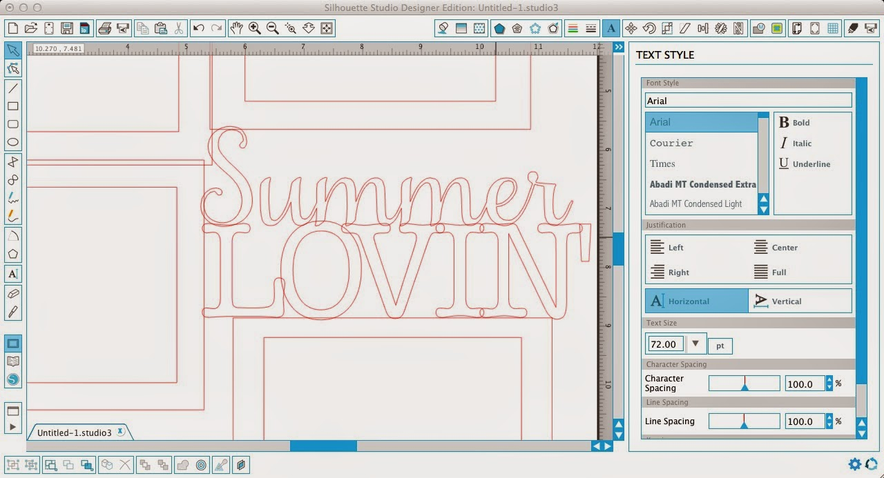 Silhouette Studio, Silhouette tutorial, frame, text, scrapbook layout