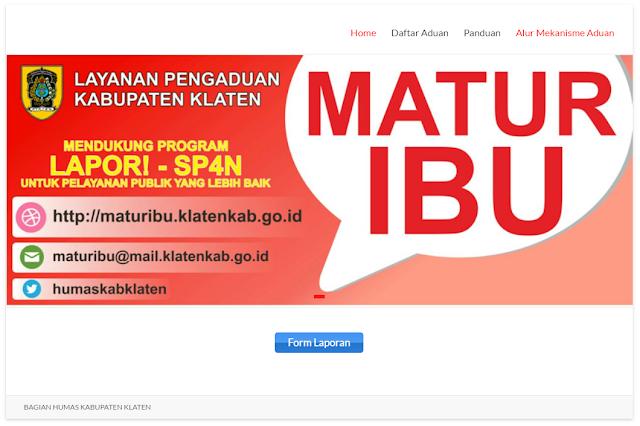 """Website Layanan Pengaduan Kabupaten Klaten """"MATUR IBU"""""""