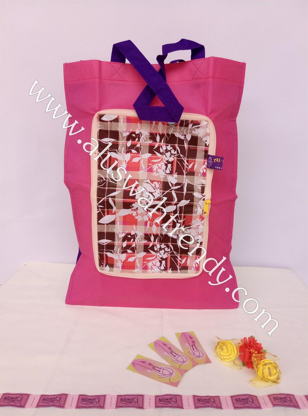 Tas Belanja Lipat Pink Motif Kotak-Kotak 04
