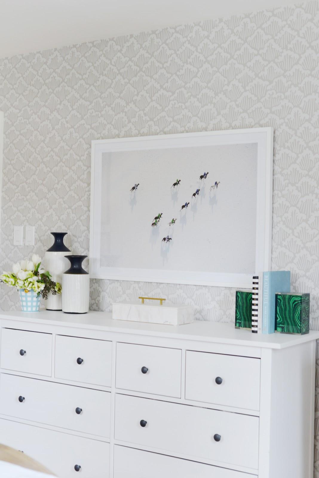 calm neutral master bedroom, Rambling Renovators, Gray Malin The Match, Jill Rosenwald gingham vase, Aranami wallpaper