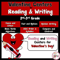 Valentine Reading and Writing Centers for 2nd and 3rd Graders