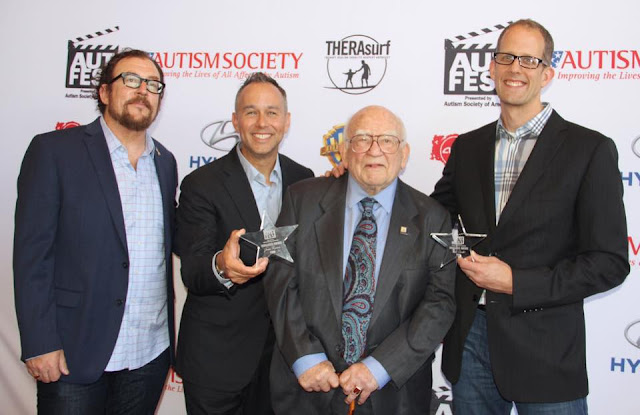 Ed Asner, Pete Docter and Jonas Rivera on the red carpet of the AutFest Film Festival