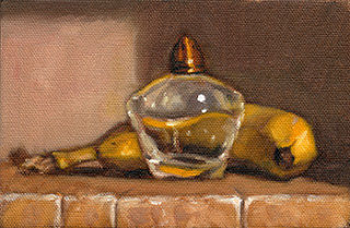 Oil painting of an antique glass salt and pepper shaker with copper top beside a banana.