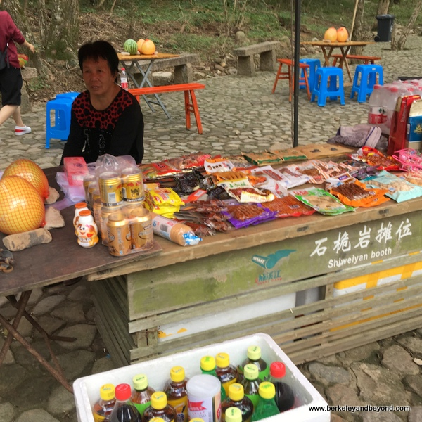 snack stand in Shizhiyan Cliff Scenic Spot in Zhejiang Province, Wenzhou, China