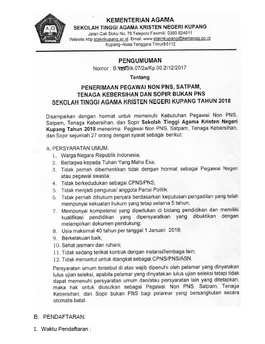 Rekrutmen Pegawai, Sopir, Satpam, Kebersihan Sekolah Tinggi Agama Kristen (STAKN) Kupang