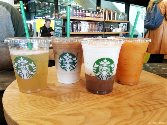 Starbucks Amsterdam Central Station cold drinks frappuccino mango passion cold brew peach citrus green tea iced cappuccino