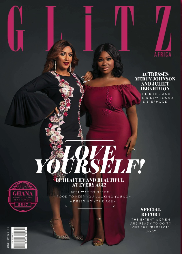 Juliet Ibrahim and Mercy Johnson pair up for cover of Glitz Africa 'Love Yourself' issue