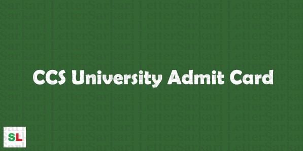 CCS University Admit Card 2018
