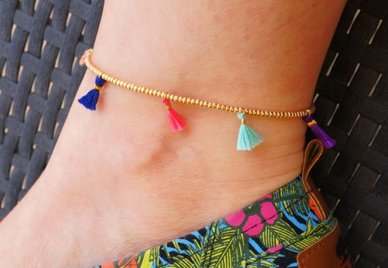 foot item handmade ethnic pattern cool created anklet beach green thailand copper beads bells gift jewelry