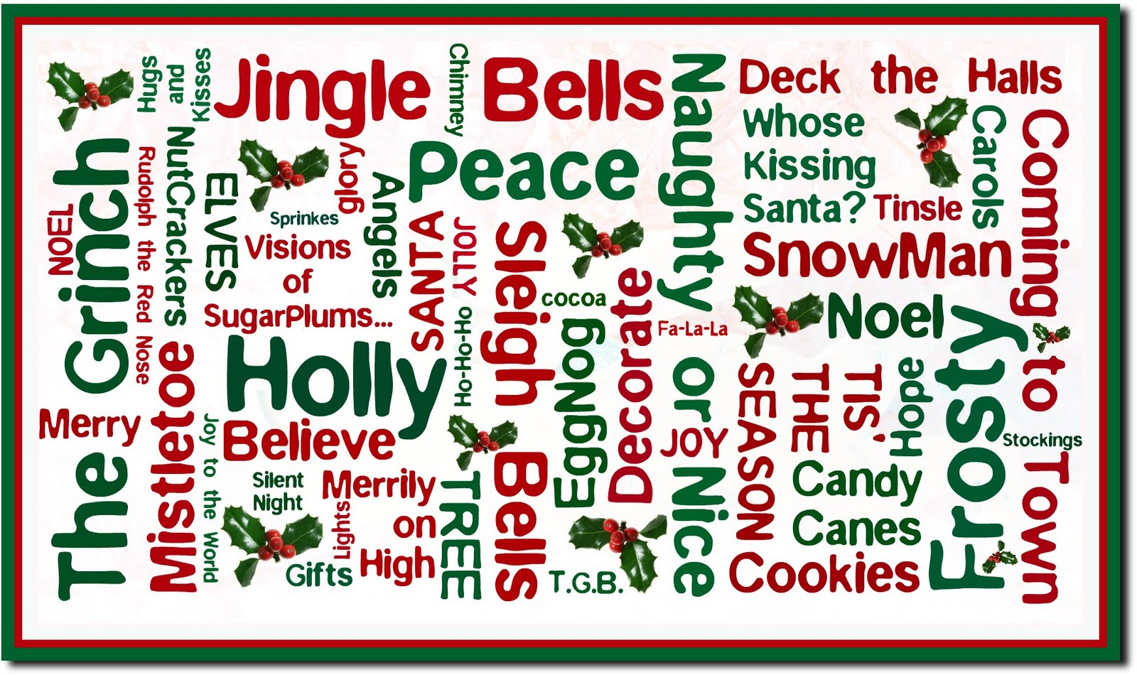 Angel From Holly's World christmas words beginning with the letter s