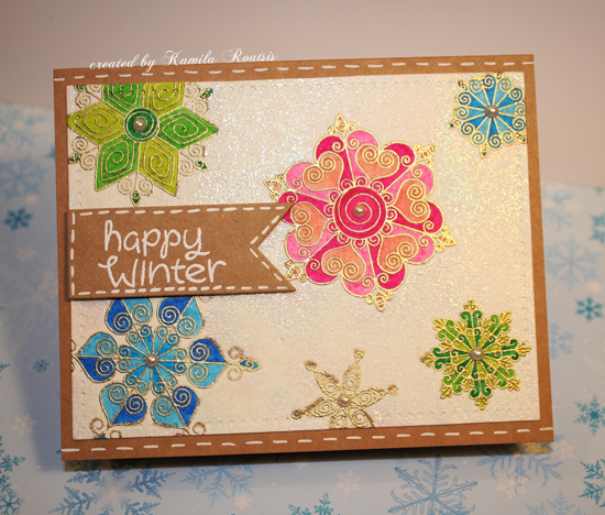 Kraft + Sparkle Challenge | Happy Winter Snowflake Card by Kamila Routis | Beautiful Blizzard stamp set by Newton's Nook Designs #newtonsnook