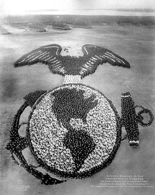 USA Marines at Paris Island S.C. 1919, giant photograph of a crowd as the earth with an anchor