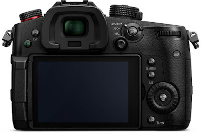 rear view of the Panasonic Lumix GH5S mirrorless digital camera showing rear screen and control dials