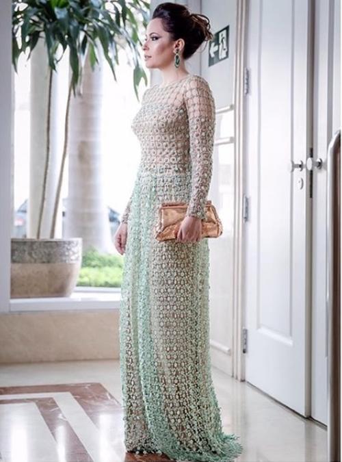 vestido de festa manga longa