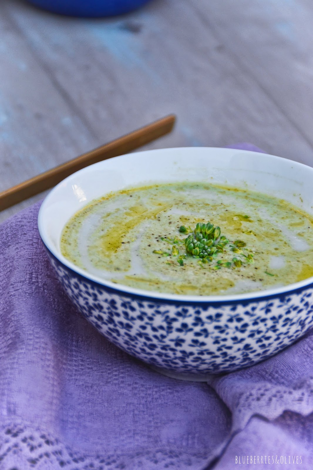 BROCCOLINI, ALMOND AND ROSEMARY CHILLED SOUP