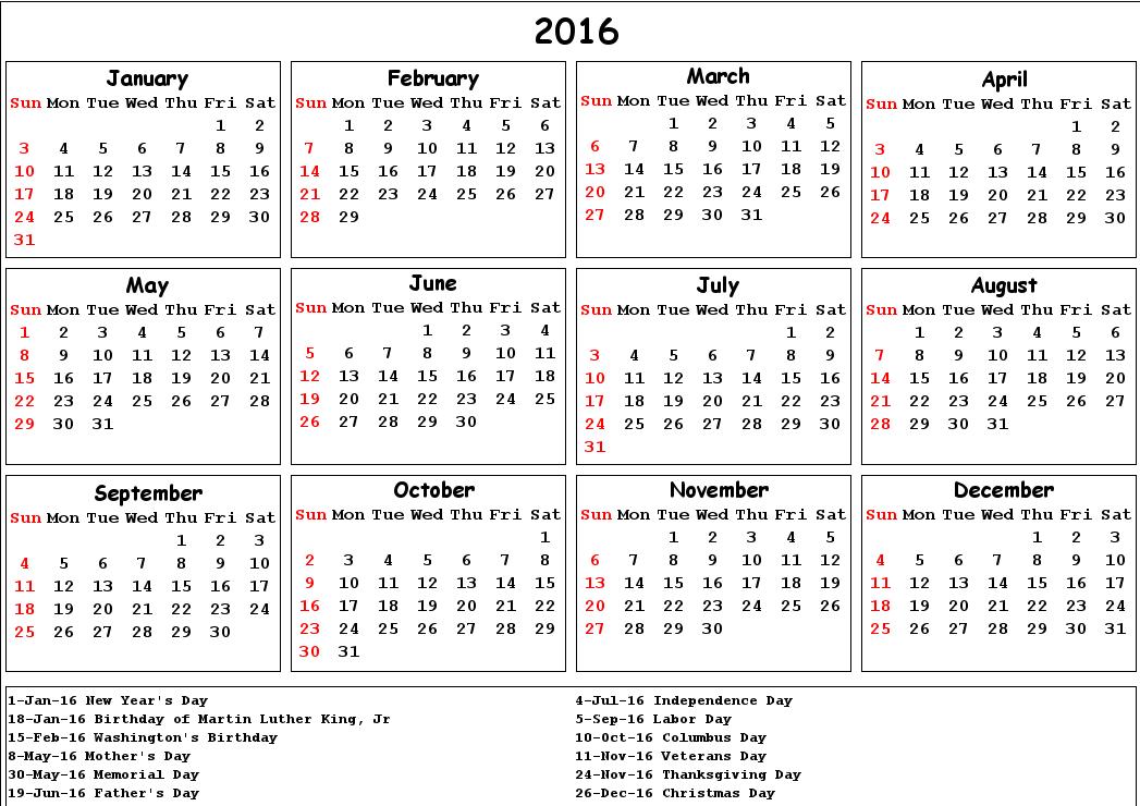 (Free}* 2016 Printable Calendar with Holidays [US, UK ...  (Free}* 2016 Pr...