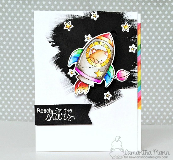 Reach for the Stars Slider Card by Samantha Mann | Cosmic Newton Stamp Set by Newton's Nook Designs #newtonsnook #handmade