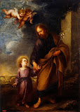 St Joseph Leading the Christ Child by Bartolome Esteban Murillo - Christianity, Religious Paintings from Hermitage Museum