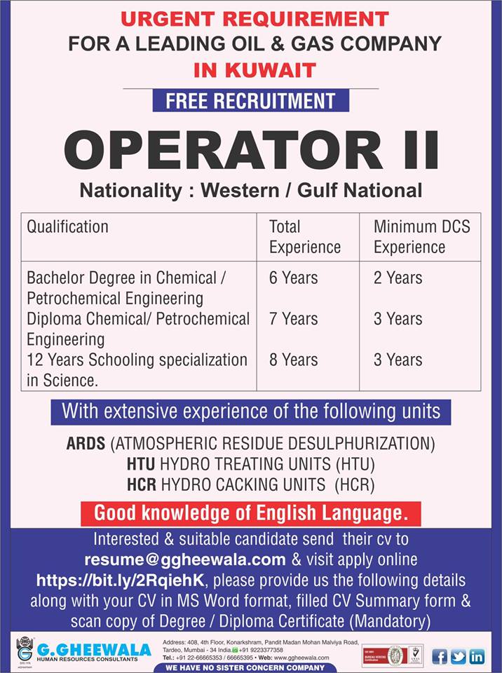 Operator Requirement for Oil & Gas company in Kuwait