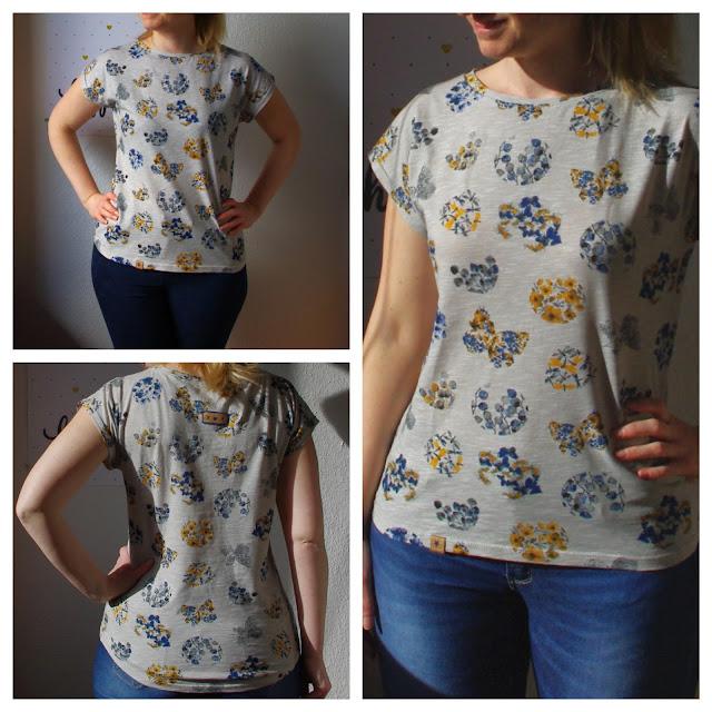Frau mit Shirt Kimonotee aus Jersey Grau mit Blumen Schnittmuster (Freebook) von MariaDenmark  selbst genähtes Damen Oberteil Collage 2
