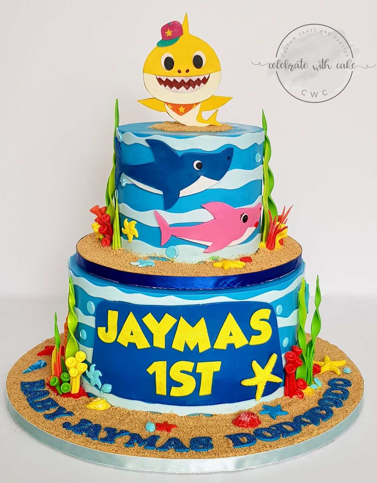 Celebrate With Cake Baby Shark Rotating Two Tiers 1st Birthday