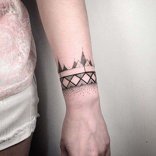 geometrik bilek dövmeleri geometric wrist tattoos 21