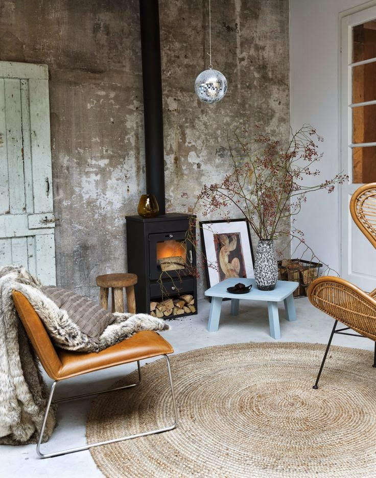 white floor design with natural woven rug