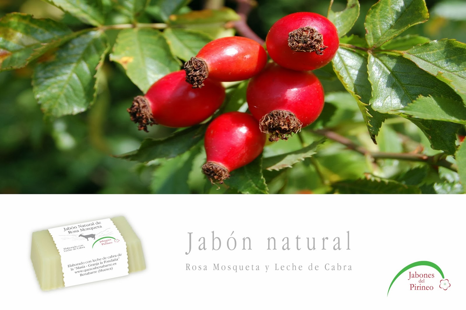 Jabón Natural de Leche de Cabra y Rosa Mosqueta