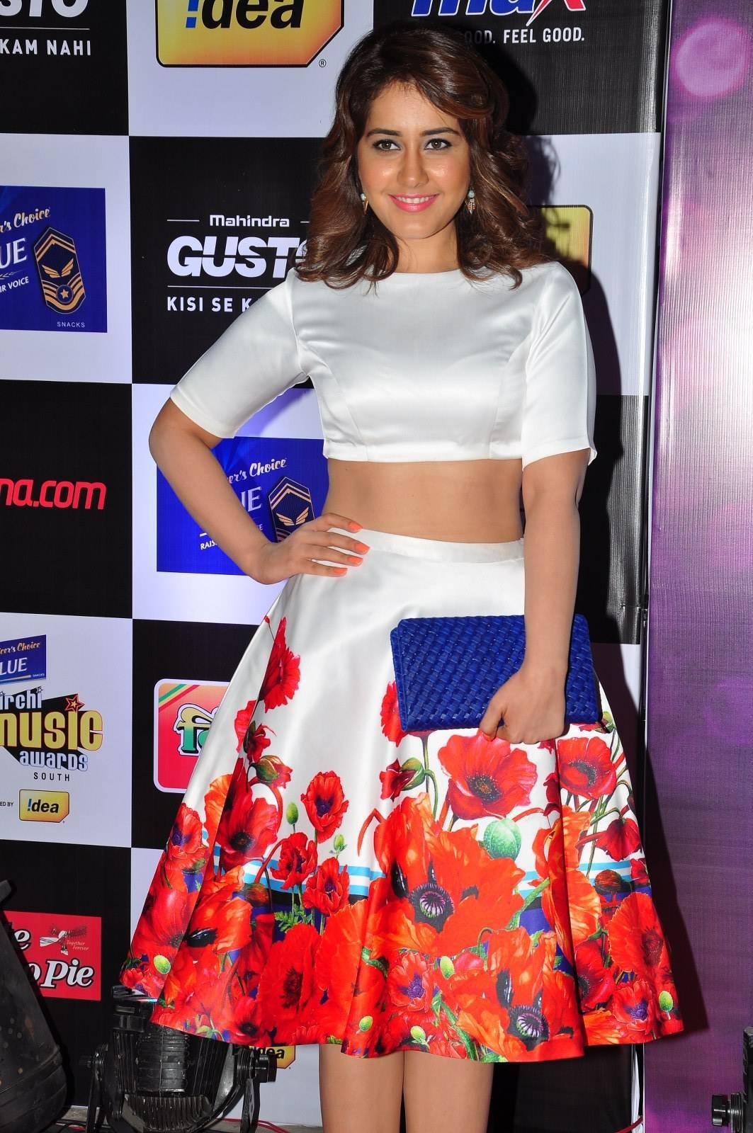South Indian Actress Rashi Khanna Photos at Music Awards In White Dress