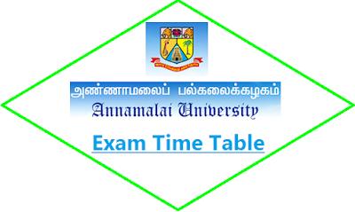 Annamalai University Exam Time Table May June 2021