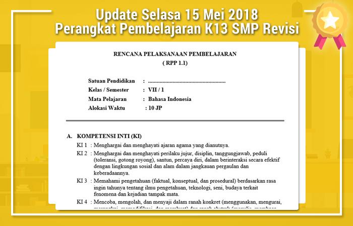 Update Selasa 15 Mei 2018 Perangkat Pembelajaran Kurikulum 2013 SMP Revisi 2017