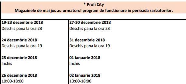 orar program profi 24 25 26 27 31 decembrie 2018 31 2 ianuarie 2019