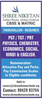 Shree Niketan Patasala- Tambaram & Thiruvallur Wanted Teachers