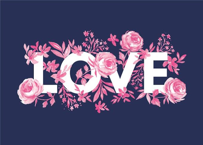 Love surrounded by watercolor roses free vector