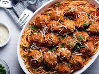 Baked Meatballs with linguine New