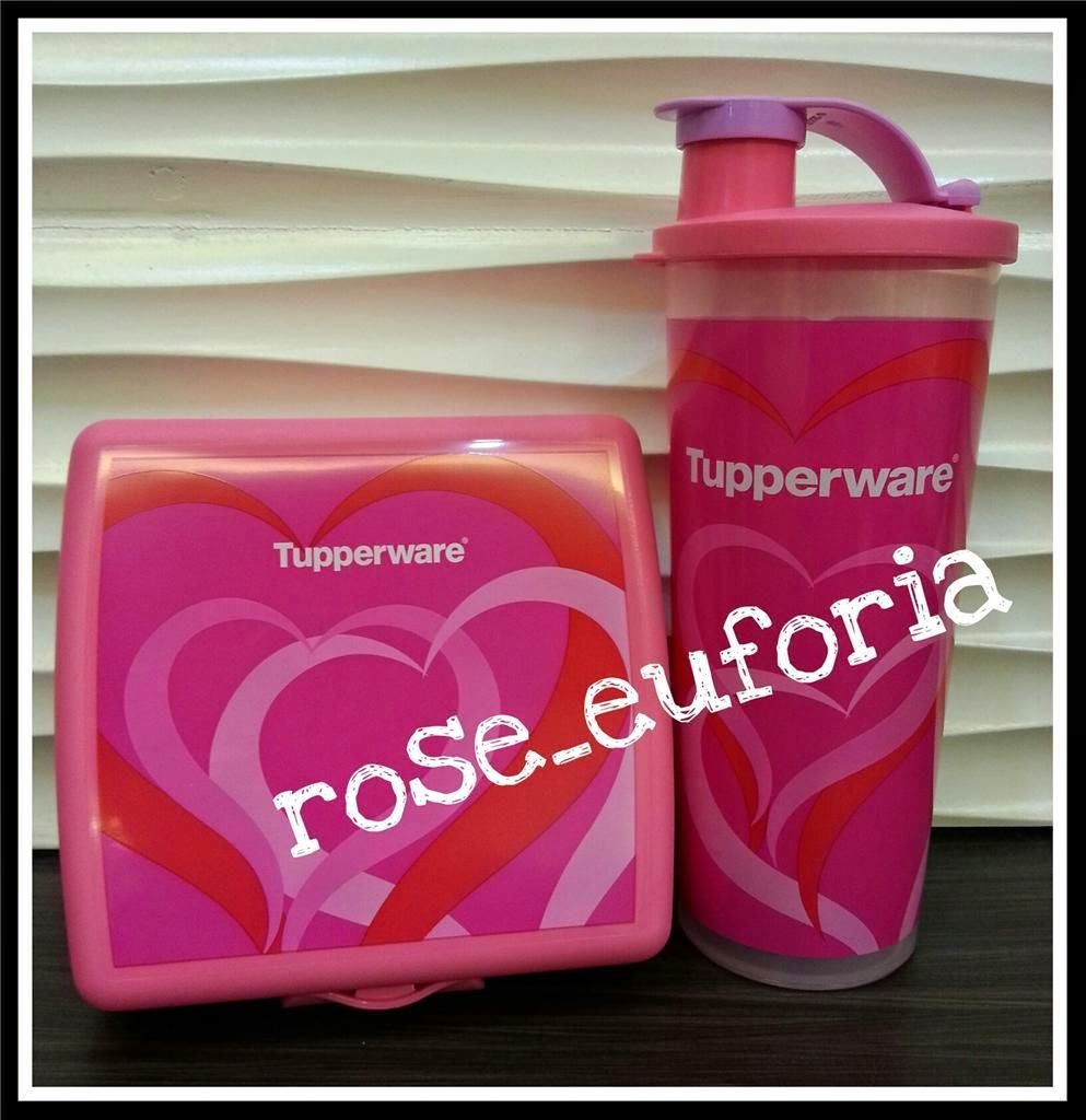 Rose Euforia My Tupperware Collection Sweet Blossom Set Love Lunch Sandwich Keeper And 470ml Tumbler With Spout