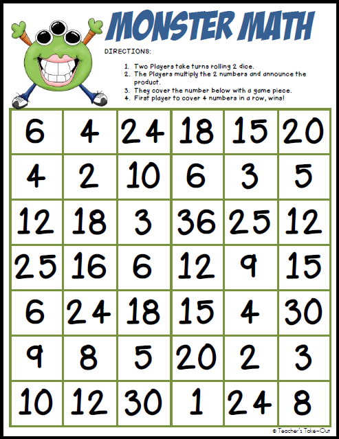 Monster Math Multiplication Freebie on Number Bingo 1 10 Printable