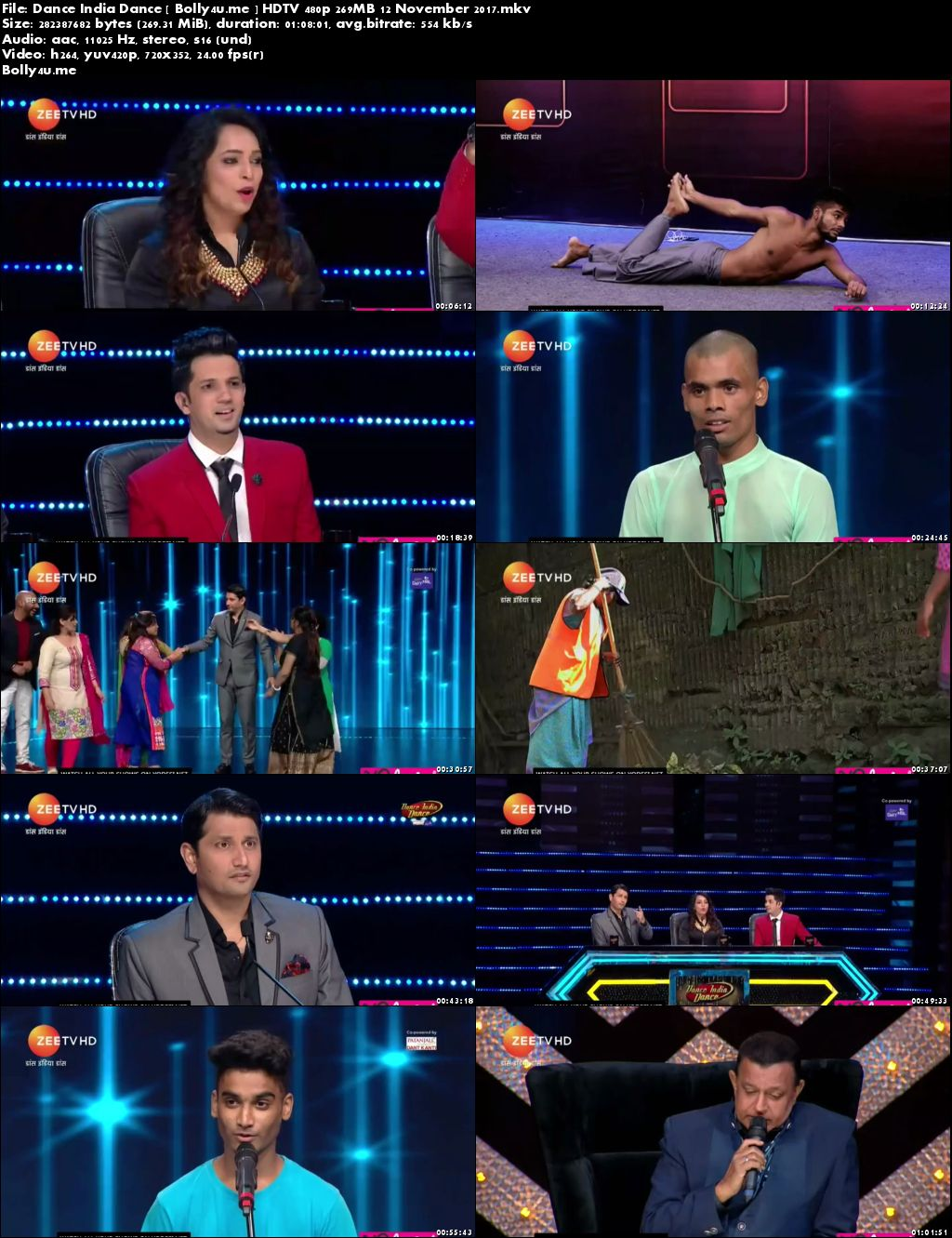 Dance India Dance HDTV 480p 250MB 12 November 2017 Download