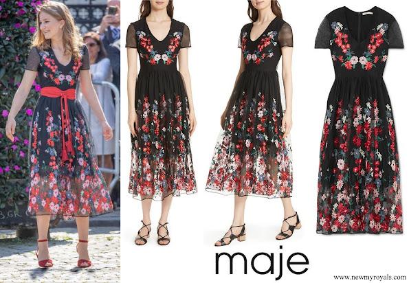 Crown Princess Elisabeth wore MAJE Raphael embroidered tulle midi dress