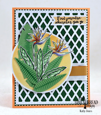 Our Daily Bread Designs Stamp Set: Aloha, Custom Dies: Bird of Paradise, Frangipani, Tropical Leaves, Pierced Circles, Pennant Flags, Lattice Background, Paper Collection: Boho Bolds